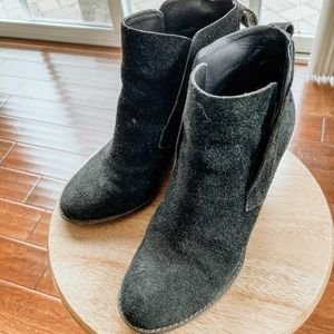 Black Suede Wedge Bootie